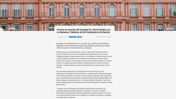 La descripción del hospital inaugurado en octubre de 2015 en la página de Casa Rosada