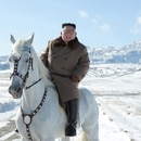 This undated picture released by Korean Central News Agency on October 16, 2019 shows North Korean leader Kim Jong Un riding a white horse amongst the first snow at Mouth Paektu. (Photo by STR / KCNA VIA KNS / AFP) / - South Korea OUT / REPUBLIC OF KOREA OUT ---EDITORS NOTE--- RESTRICTED TO EDITORIAL USE - MANDATORY CREDIT