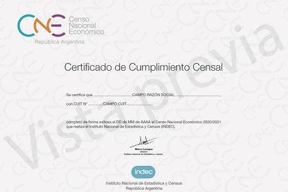 Así luce el certificado que extenderá el Indec a quienes respondan el censo