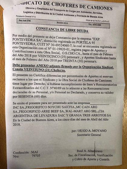 """El """"libre deuda"""" firmado por Altamirano"""