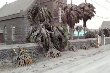 La ceniza cubre una iglesia y las palmeras a cinco millas de la capital Georgetown (REUTERS/Robertson S. Henry/archivo)
