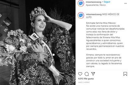 Así anunció el deceso la organización Miss México