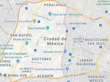 Mapa de la alcaldía Cuauhtémoc (Foto: Google Maps)