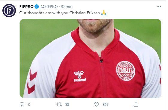 mensajes del mundo del fútbol sobre Eriksen
