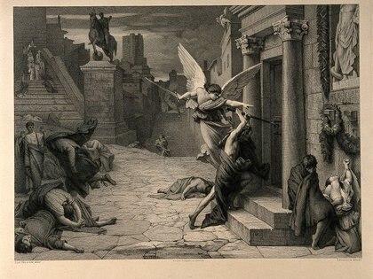 Cuadro del ángel de la muerte golpeando una puerta durante la plaga de Roma en tiempos de la peste antonina (Foto: Wikipedia)