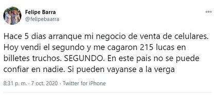 Este es el tuit de Felipe Barra que se hizo viral
