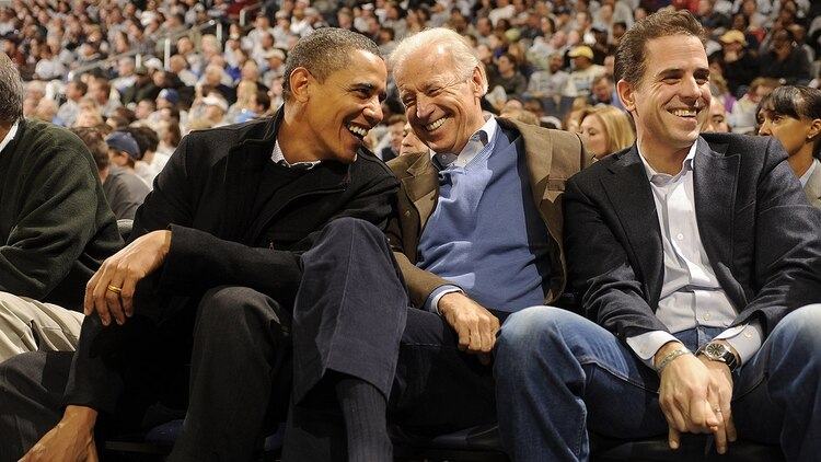 Barack Obama, Joe Biden and Hunter Biden (AFP)