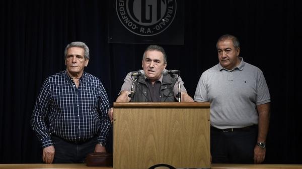 Juan Carlos Schmid, Héctor Daer y Carlos Acuña de la CGT