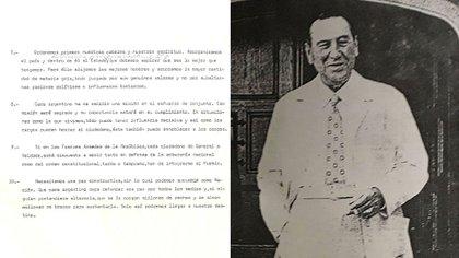 Perón en la puerta de la casa de Gaspar Campos, en su vuelta al país. Y parte del discurso que trajo en el avión desde Madrid.