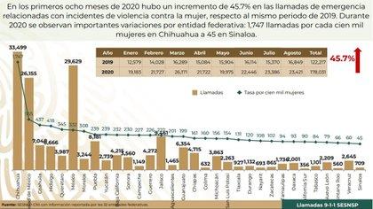 Chihuahua destaca como el estado con mayor número de llamadas al 911 por violencia contra mujeres (Foto: Grupo Interinstitucional de Estadística)