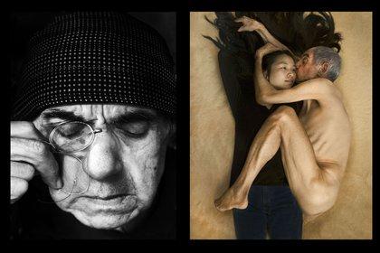"""Representaciones de """"Madre"""" (1924) de Aleksandr Rodchenko y de la famosa foto de Annie Leibovitz donde posan Yoko Ono y John Lennon"""
