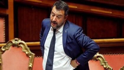 Salvini gesticula ante la votación en el Senado el 5 de agosto de 2019 (Reuters/ Remo Casilli/ File Photo)