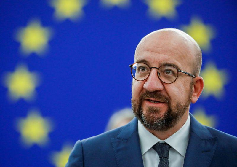 FOTO DE ARCHIVO: El presidente del Consejo Europeo, Charles Michel, habla durante una sesión plenaria en el Parlamento Europeo en Estrasburgo, Francia, el 9 de junio de 2021. Julien Warnand/Pool vía REUTERS