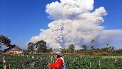 Un campesino observa la erupción desde Karo (BAHARI TARIGAN / AFP)