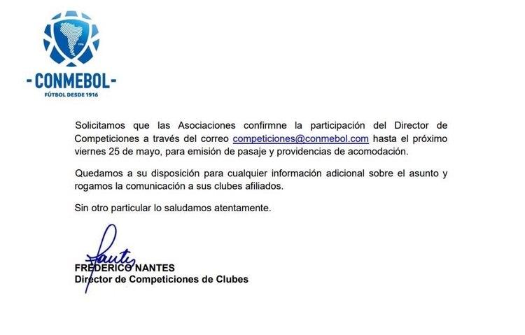 La nota que la Conmebol hizo circular entre las asociaciones miembro