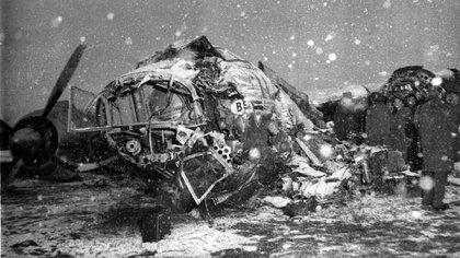 Así quedó el avión de la Tragedia de Múnich, donde murieron ocho jugadores del Manchester United