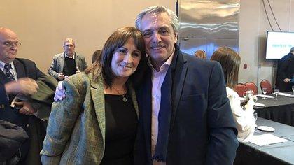 La diputada Mirta Tundis y el presidente Alberto Fernández