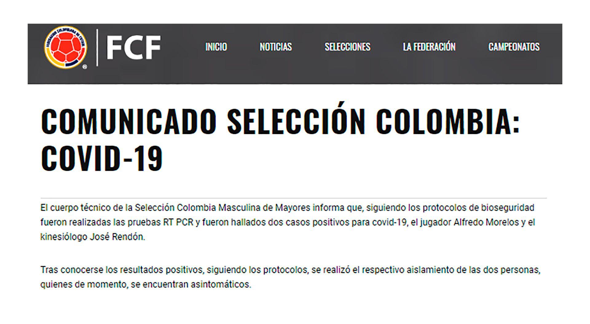 comunicado covid 19 seleccion colombia