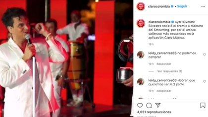 """El cantante vallenato también recibió el premio """"Maestro del Streaming"""" otorgado por Claro."""
