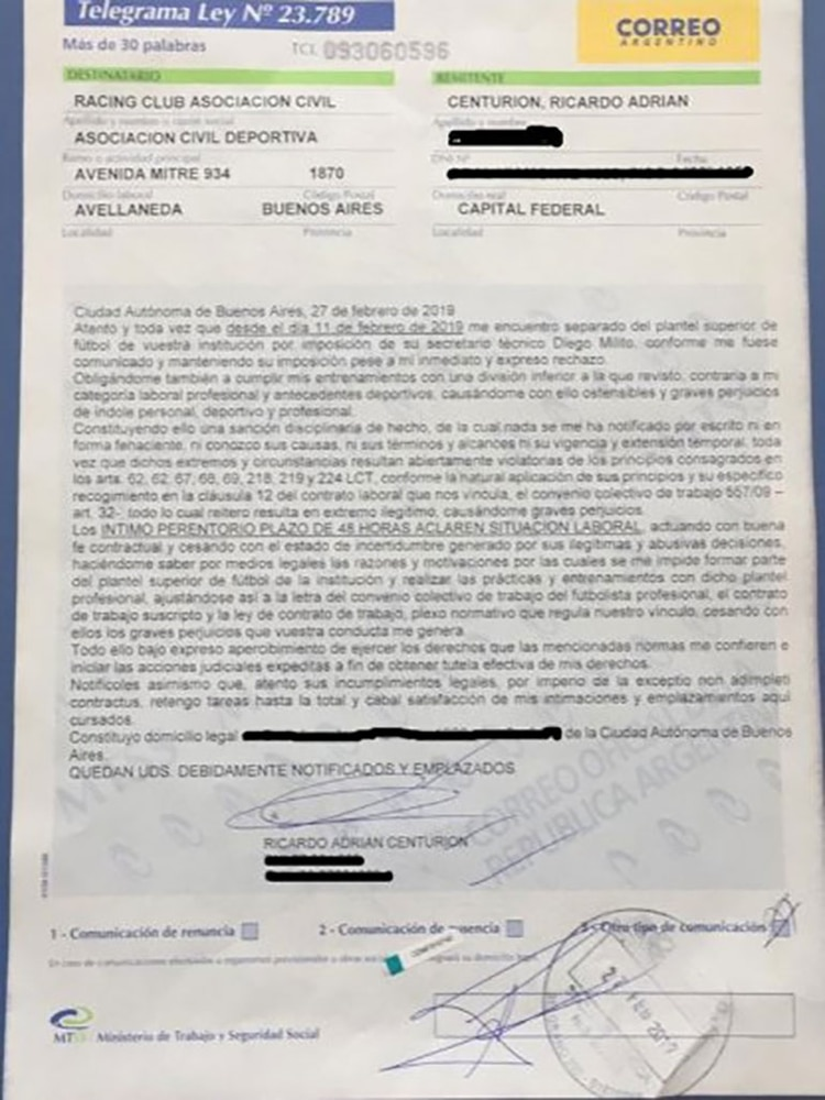 El telegrama con el que Ricardo Centurión intimó a Racing para que regularice su situación laboral