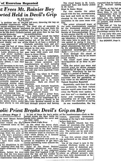 """""""Un sacerdote libra a un joven de las garras del demonio"""", afirmaba el Washington Post en su edición del 20 de agosto de 1949"""
