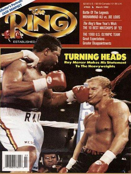 La portada histórica de la tradicional revista The Ring con el KO de Mercer a Morrison
