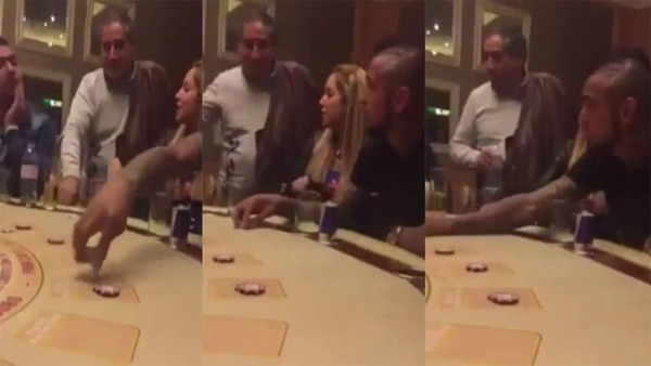Arturo Vidal en el Casino de Chile, antes de los incidentes