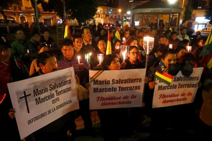Una misa en memoria de los dos manifestantes opositores que fueron asesinados en Montero. Un tercero murió como resultado de los golpes que sufrió durante las protestas en Cochabamba.