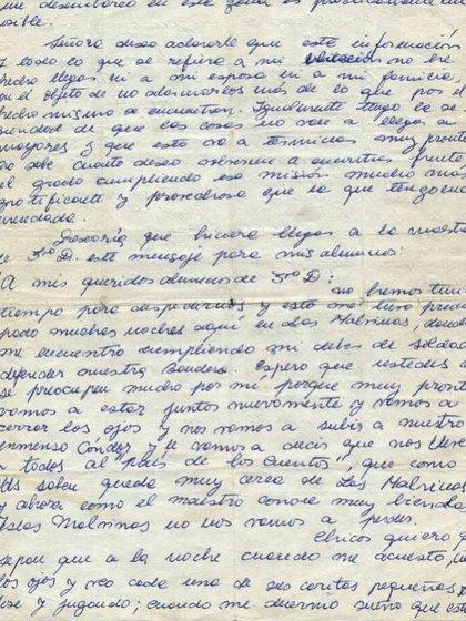 La carta que Julio Cao le envió a la directora de la escuela para que le hiciera llegar a sus alumnos