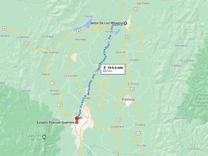 Según Google Maps, 65 kilómetros tiene el recorrido desde el estadio Pascual Guerrero en Cali, hasta la basílica del milagroso en Buga. Foto: Tomada de Google Maps.