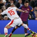 Soccer Football - La Liga Santander - FC Barcelona v Eibar - Camp Nou, Barcelona, Spain - January 13, 2019 Barcelona's Lionel Messi in action with Eibar's Jose Angel REUTERS/Albert Gea
