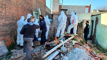 En esta obra en construcción encontraron el cadáver de la joven de 29 años (gentileza Diario de Junín)