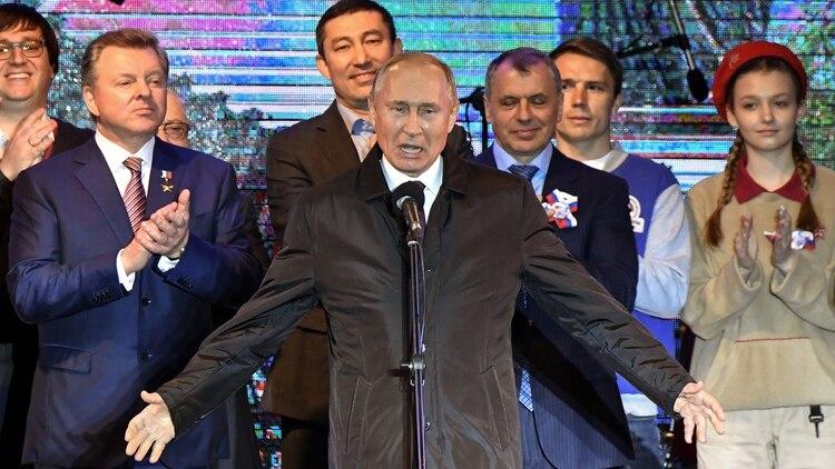 Putin en Crimea después de la anexión. (AFP)
