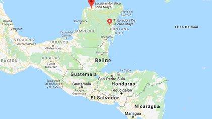 La cultura maya se asentó en los estados de Yucatán, Campeche, Quintana Roo, y porciones de Chiapas y Tabasco, así como en Belice, una parte de Guatemala y la frontera noroccidental de Honduras (Foto: Google maps)