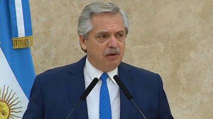 Alberto Fernández durante el encuentro de Camaradería de las Fuerzas Armadas