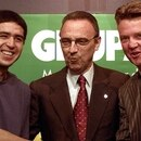 Argentinian soccer midfielder Juan Roman Riquelme (L) FC president Joan Gaspart and Dutch coach Louis Van Gaal at a press conference at Barcelona Nou Camp stadium July 15, 2002. Riquelme signed a five-year contract for Barcelona. REUTERS/Gustau Nacarino GN/CRB