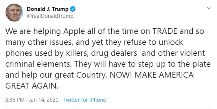 Trump acusó a Apple de negarse a desbloquear el iPhone utilizado por el supuesto autor del atentado de Pensacola.