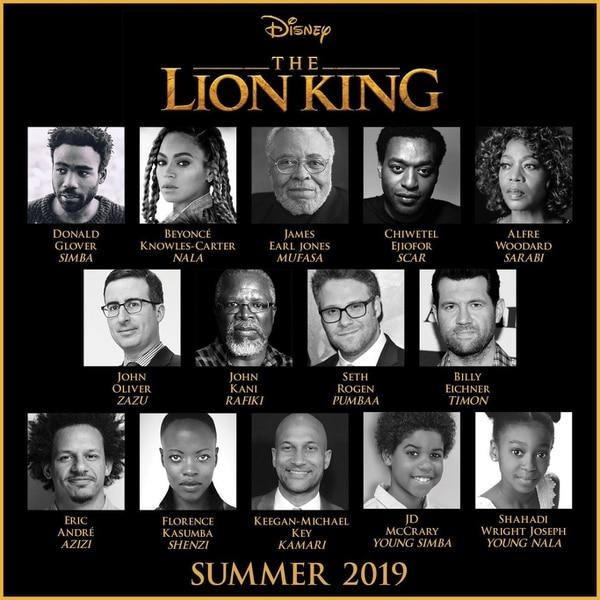 Reparto: Donald Glover como Simba, Beyoncé como Nala, Chiwetel Ejiofor como Scar y Seth Rogen y Billy Eicher como Timon y Pumbaa, mientras que el gran James Earl Jones volverá a interpretar a Mufasa.