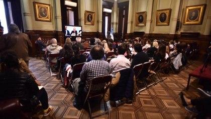 En el Salón Illia del Senado se transmitió la lectura de la sentencia (Adrián Escandar)