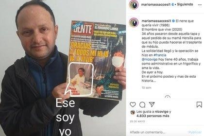 Nicolás con la tapa de la revista GENTE que Mario Massaccesi compartió en su cuenta de Instagram.
