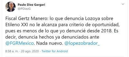 El abogado publicó que Lozoya no puede alcanzar el criterio de oportunidad nada más con lo que supuestamente testificó ante la FGR (Foto: Twitter / @PDiezG)