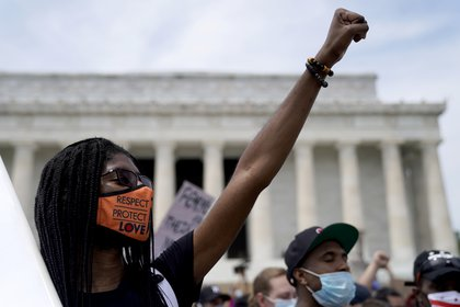 Protesta en el Lincoln Memorial, en Washington (Reuters)