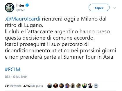 El tuit de la cuenta oficial del Inter con el anuncio de la despedida de Icardi de la pretermporada
