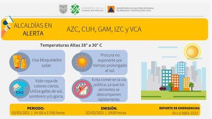 Alerta amarilla en 5 alcaldías de la CDMX (Foto: Twitter @SGIRPC_CDMX)
