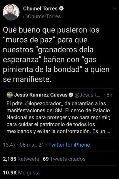 Chumel Torres arremetió contra Jesús Ramírez Cuevas, Coordinador General de Comunicación Social de la Presidencia de la República (Foto: Twitter/ @ChumelTorres)