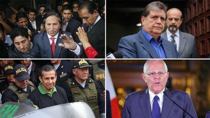Los ex presidentes Alejandro Toledo, Alan García (arriba, de izquierda a derecha), Ollanta Humala y Pedro Pablo Kuczynski (abajo) tienen causas abiertas por corrupción. Además, Alberto Fujimori cumple una condena a 25 años de prisión.