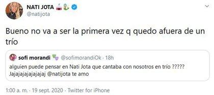 El comentario de Morandi y la pícara respuesta de Nati (Foto: Twitter)