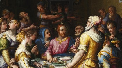 """""""Las bodas de Caná"""" de Giorgio Vasari, una de las obras que se exhiben en el MNBA"""