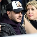 Soccer Football - Serie A - Inter Milan v Sampdoria - San Siro, Milan, Italy - February 17, 2019 Inter Milan's Mauro Icardi with his wife Wanda Nara in the stands REUTERS/Daniele Mascolo