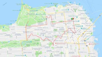 El logo de Batman en las calles de San Francisco (Lenny Maughan/MapMyRun)